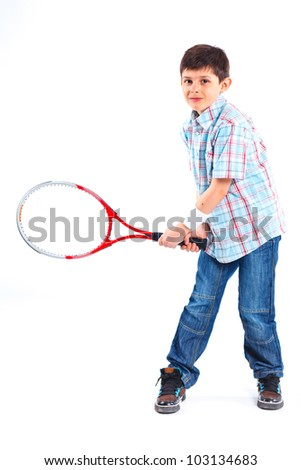 Young tennis player isolated over white background - stock photo