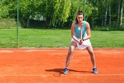 Young tennis player practicing serve return in tennis, serve return technique