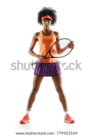 Young tennis player with racket in silhouette isolated on white background
