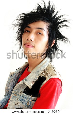 Young Thai punk isolated on white.