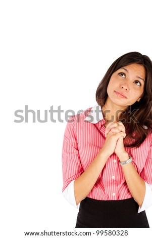 Young thoughtful business woman with her hands by face over white background.