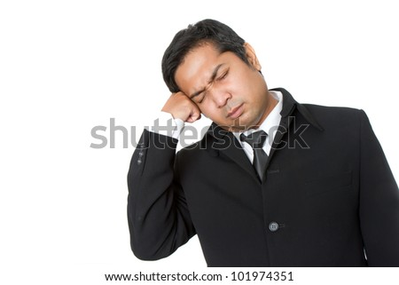 young thoughtful businessman isolated over white background