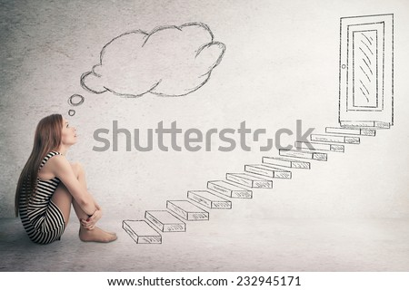 Young thoughtful woman sitting in front of a ladder stairways leading to closed corporate office door thinking. Promotion concept in life career. Face expression perception vision challenge, attitude