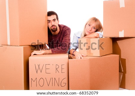 Young Tired Couple on Moving