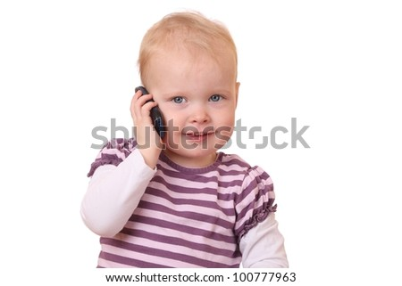 Young toddler with cell phone on white background