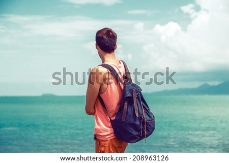 young traveler man with...