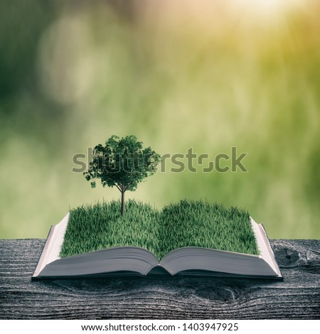 Young tree on a green grass on the pages of an open magical book. Nature spring background. Ecology and education concept. Vintage filter stylization. #1403947925