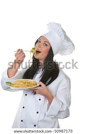 Young tries her cook homemade pasta dish from