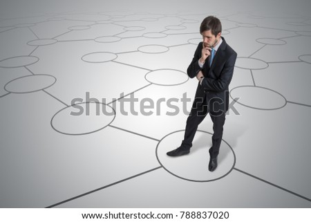 Young unsure man is making decision. Strategy and choice concept. #788837020