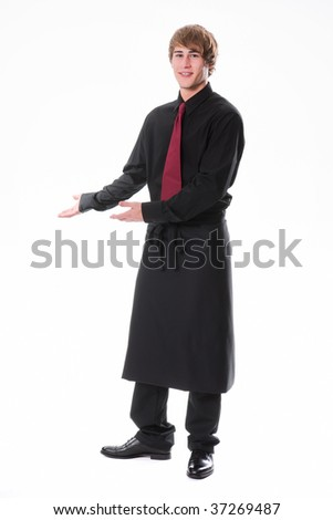 Young waiter invites to take place