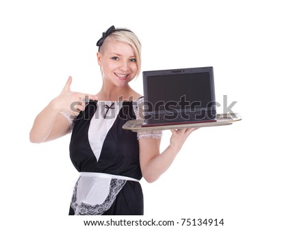young waitress in a retro waitress uniform with laptop