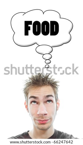 Young white Caucasian male adult thinks about food in his think bubble isolated on white background