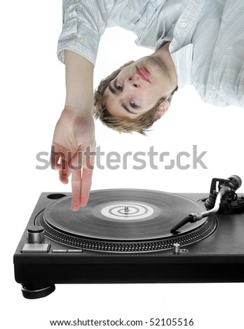 Young white DJ scratches an LP music record upside down, isolated on white
