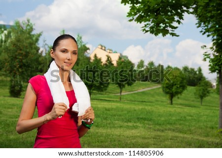 young woman after outdoor workout