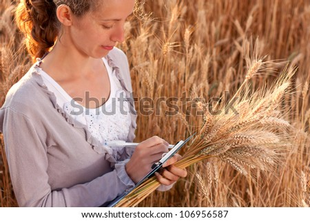Young woman agronomist or a student with document in hand writes results of her experiment in the wheat field