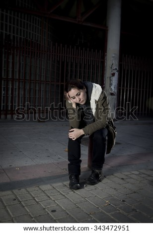 Free Photos Young Woman Alone In The Street Suffering Depression