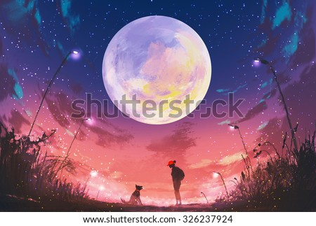 young woman and dog at beautiful night with huge moon above,illustration painting