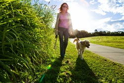 Young woman and golden retriever walking in the grass