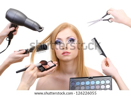 Young woman and hands with eyes shadows, brush, scissors and hairdryer, isolated on white
