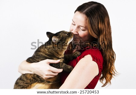 Young woman and her pet tabby