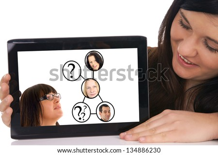 young woman and her social network / social network