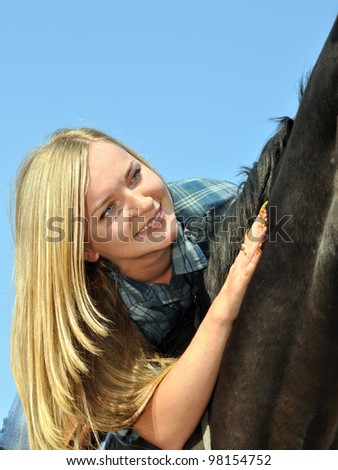 young woman and horse in sunny day #2