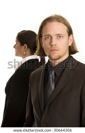 young woman and man business communication meeting