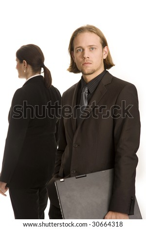 young woman and man business meeting