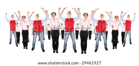 Young woman and man hands up circle collage - stock photo