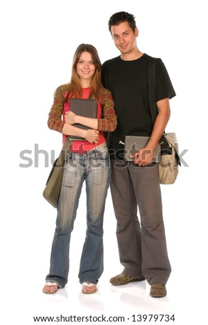 Young woman and man standing with books and bags, isolated on white, clipping path included