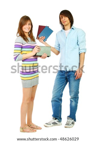 Young woman and man standing with books, isolated on white
