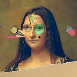 Young woman as Mona Lisa replica isolated on dark green background. Comparison of eras concept. Beautiful female model like classic historical character, old-fashioned. Collage of contemporary art.