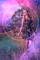 Young woman astrology signs. Occultism Mysticism.