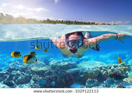 Young woman at snorkeling in the tropical water of Mexico #1029122113