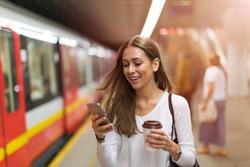 Young woman at subway station