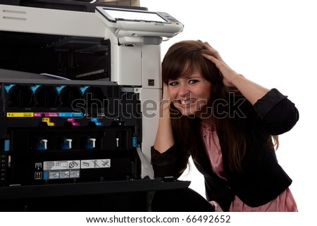 Young woman at the copy machine 9981