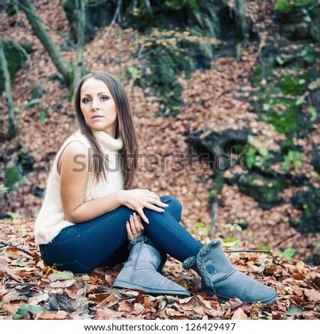 Young woman autumn portrait.