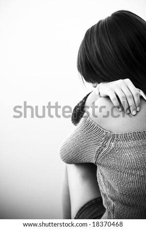 Young woman back portrait, isolated on white.