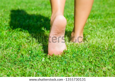 Young woman barefoot walking on fresh, green grass in sunny summer in morning. Shadow of girl. Restful moment. Healthy lifestyle. Bright color. Closeup. Low angle. Back view. #1355730131