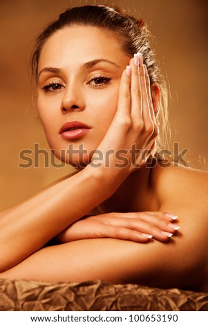 young woman beauty portrait in spa salon
