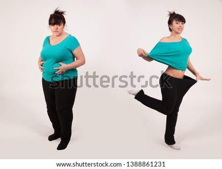 Young woman before and after losing weight. Diet and fitness. Healthy lifestyle. Liposuction .. Nutrition Concept. Lifting