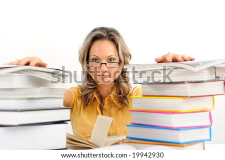 young woman between books