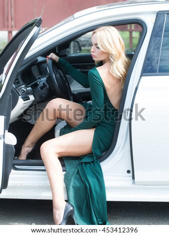 sitting in car Sexy legs