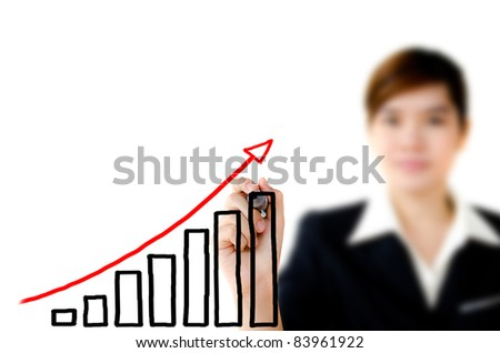 Young woman business hand drawing showing graph.