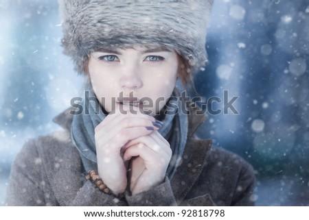 Young woman calm winter portrait. - stock photo