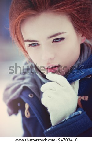 Young woman calm winter portrait.
