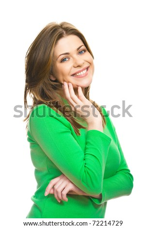 Young woman casual portrait in positive view, natural and big smile on happy face of beautiful model posing in studio on white background. Isolated.