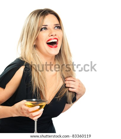 young woman cheerfully and happily celebrating the event, isolated over white background