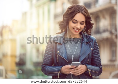 Young woman city walk tourist vacation lifestyle #657822544