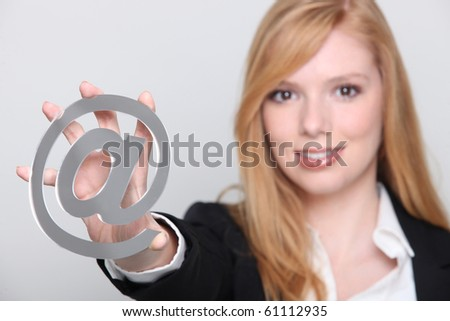 Young woman connected to the Internet